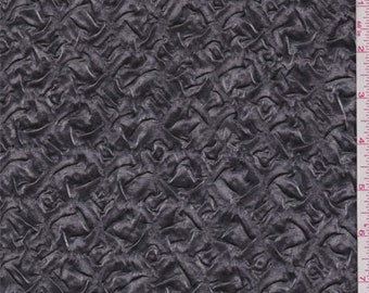 Metallic Graphite Embossed Satin Charmeuse, Fabric By The Yard