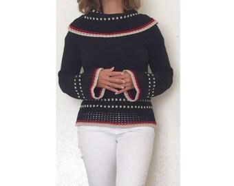 Vintage Women's Cowl Neck Lycra Britain Sweater - Size M