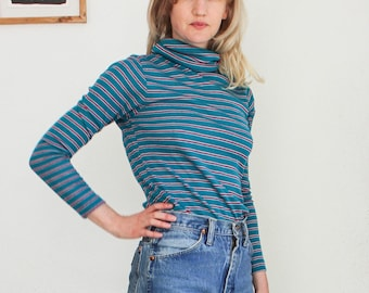 70s super soft knit turtleneck striped acrylic blue turquoise sweater fitted high neck