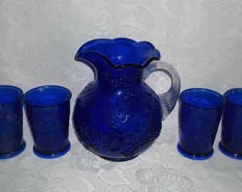 Mosser Cobalt Blue Pitcher With 4 Tumblers Grapes & Leaves Pattern With Crystal Applied Handle