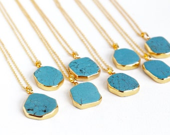 Turquoise Necklace Gold - Howlite - Gemstone Pendant - Turquoise Jewelry - Boho Necklace - Long Gemstone Necklace - Gift For Woman