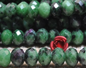 72 Pcs of Natural Green Zoisite faceted Rondelle beads in 5x7mm (07004#)
