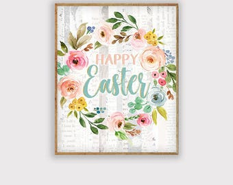 Happy Easter Art Print, Easter Art Printable, Spring Art, Rustic Farmhouse Spring Art Print