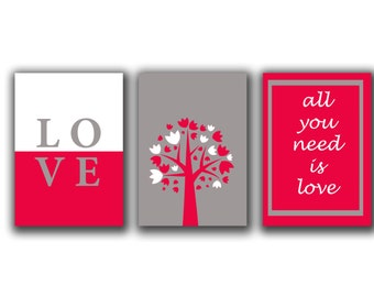 Children wall Art - All you need is love - Typographic print- set of 3 prints - Quote prints-   trio Typography  set