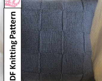 "knit pattern pdf, knit pillow cover pattern, Simple Squares 20"" x 20"" pillow cover"