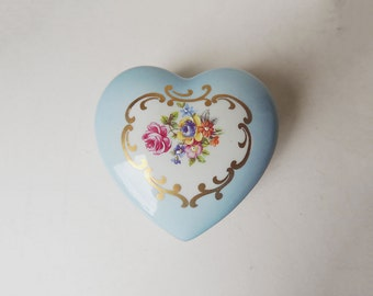 Heart Shaped Blue Box with Roses GDR Porcelain