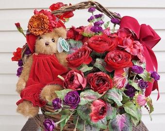 "Marley's Masterpiece - Premium Silk Floral Basket Arrangement featuring Bearrington Bear's ""Marley"""