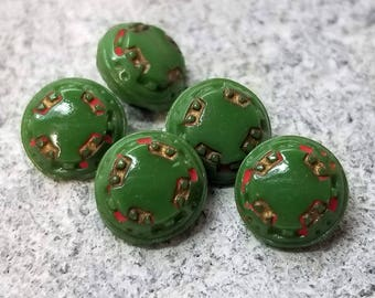 Sweet Set of 5 Diminutive Green Glass Sewing Buttons ~ Red & Gold Luster Tetrad Design ~ 3/8 Inch 9mm ~ Dimi Kelly Green Baby Doll Buttons
