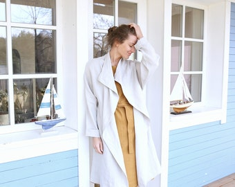 Long Linen Coat / Women's Jacket / Dropped Linen Jacket / Elegant Summer Cardigan | Washed Soft Linen Top | Linen Cardigan / Coat / Jacket