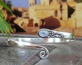 Thin Adjustable Simple Silver Moonstone Bangle Bracelet Tribal Gypsy Festival Boho Jewelry Bangle