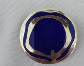 De Passille Sylvestre cobalt blue and silver modernist brooch