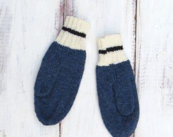 Mens Wool Mittens   Mens Knit Mittens   Handknit Mittens   Knit Wool Mittens   Blue Wool Mittens   Mens Blue Mittens   Handmade Mittens