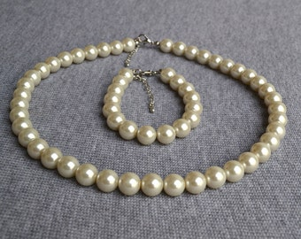 ivory pearl set,pearl necklace,pearl bracelet,big pearl set,ivory glass pearl,bridesmaid gifts,,Beaded Jewelry,wedding