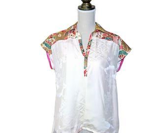 unique gorgeous , vintage kimono silk top, shirt, tunic, short sleeves