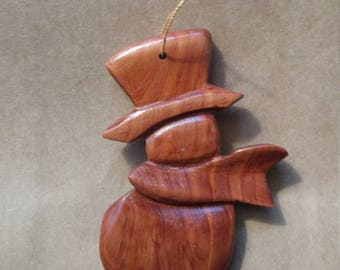 Hand carved Snowman Red Cedar