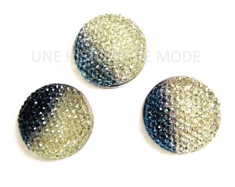 3 round acrylic rhinestone crystal and montana 25 mm cabochons craft (flaws *)