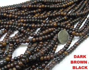 Dark Brown 6mm Bone African Syncurus Caffer bead strand