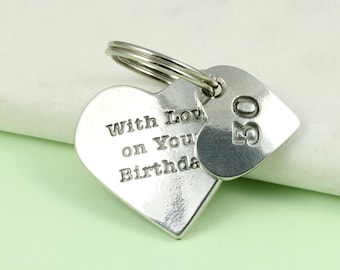 30th Birthday Gift Pewter Heart Personalised handmade Key Ring gift, birthday gift for her, birthday gift for him, personalised gift