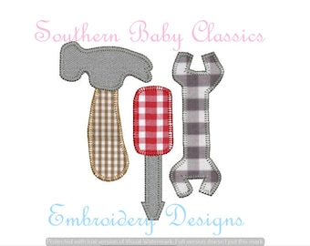 Tools Hammer Wrench Screwdriver Blanket Stitch Applique Digital Embroidery Design Instant Download File Boy Embroidery Machine