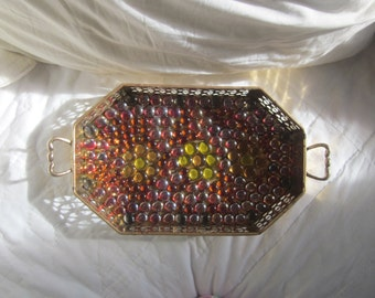 BRASS AND Glass GEM Serving Tray  Autumn Colors Upcycled Hot Plate Plant Stand