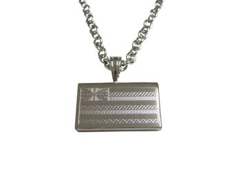 Silver Toned Etched Hawaii State Flag Pendant Necklace