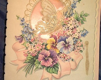 vintage 40s to 50s easter greeting card for wife,x large,padded silk with butterfly