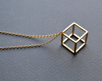 Gold Vermeil 3D Cube Necklace | 3D Cube Pendant | Geometric Pendant Necklace