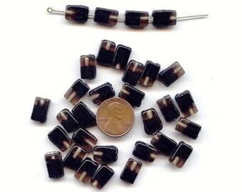 18 VINTAGE GLASS SMOKY crystal black givre handmade 12x8mm. rectangle beads d111