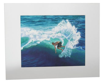 Skimboard Surfer, 8x10  Matted Print on Archival Paper and Ink by Alice Leggett