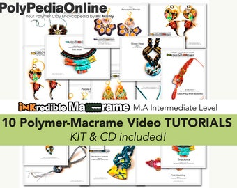 Polymer Clay Tutorial, Polymer Clay Jewelry, Macrame Pattern, DIY Macrame, Modern Macrame, DIY Jewelry, Ethnic, Tribal, Hippie, Jewelry,Fimo