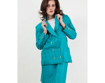 Vintage leather suit / Turquoise blue Avon skirted suit / 1980s Oversized 2 piece M L