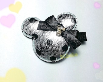 Baby Girl glitter Silver Dot Mickey Hair Clip,Headband