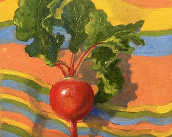 Small original oil painting of a radish on a colorful stripped cloth by Dotty Hawthorne