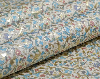 Italian Decorative Paper - Blue Florentine Style with Gold Detail
