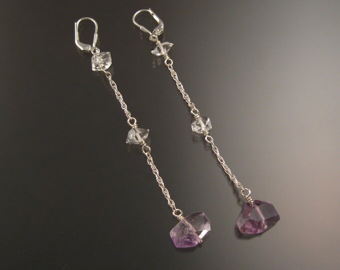 "Natural Polished Amethyst Crystal and Herkermer ""Diamond"" Quartz earrings Sterling Silver handcrafted long dangle earrings"