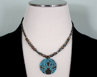 Hand Stamped Jewelry, Vintaj Jewelry, Gift for Her, Turquoise Jewelry, Crystal Jewelry, Brass Jewelry, Vintage Jewelry, Statement Necklace