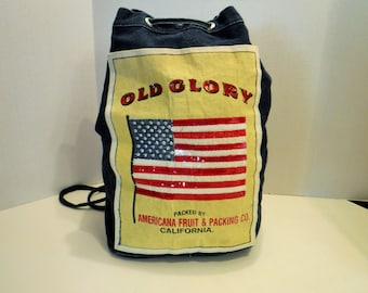 RETRO Denim Drawstring Backpack, Old Glory Purse, Blue Jean Cinch Bag Backpack, Drawstring Bag, American Fruit & Packing Co. California