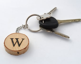 Custom Keychain With Initial Letter Wooden Pyrography Wood Burning