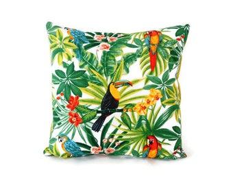 Cushion cover 40 x 40 cm, exotic fabric, printed tropical, parrots, toucans, back plain green, home decor