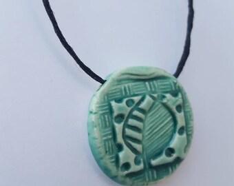pendant clay diffuser necklace - ceramic pendant - adjustable - aromatherapy jewelry - boho necklace -essential oil pendant