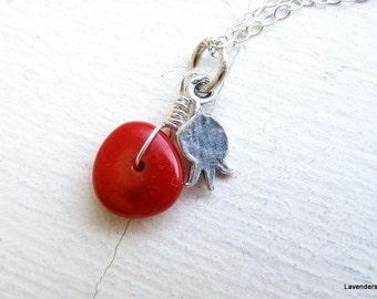 Pomegranate Necklace , Silver  Pomegranate Charm , Red Coral , Sterling Silver , Fertility , Modern , Everyday Jewelry