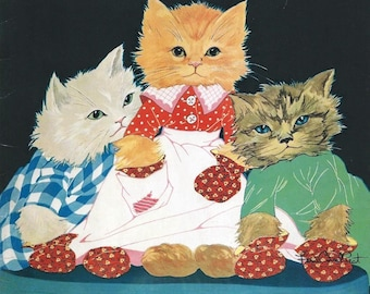 THREE LITTLE KITTENS, Fern Bisel Peat,  1931, Large soft cover in excellent condition, adorable cat artwork