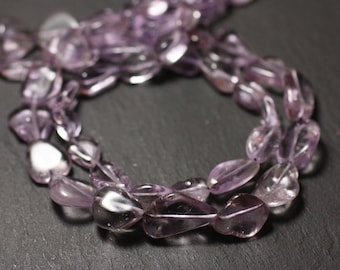 10pc - stone beads - Amethyst Lavender 9-15mm - 8741140011595 Olives
