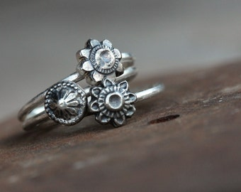 Antique Style Silver Flower Stacking Rings Delicate Primitive Rustic Oxidized Boho Embossed Floral Relief Design Spring Mother's Day - Flora