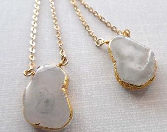 White Quartz Necklace / Solar Quartz Necklace / Solar White Quartz Pendant / Gold Edge Solar Quartz Gold /Boho Quartz // GP21