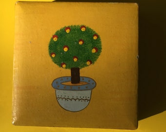 Topiary Coasters, Coasters in Box, Wooden Coasters, Handpainted Coasters
