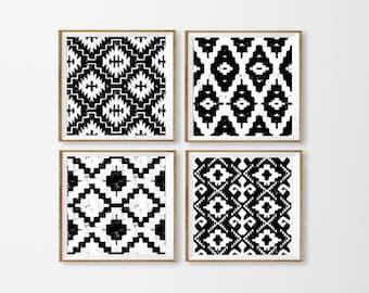 Ikat Art Printables, Set of 4 Ikat Wall Art, Black and White Ikat Art, Aztec Blue Wall Art, Tribal Art Black Square Large, Dining Room Art