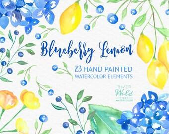 Watercolor Blueberry Lemon Flower Clipart, Commercial Use Clipart Set, Hydrangea Watercolor Flowers, PNG, Blueberry and Lemon Digital Paper