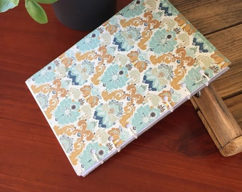 Handmade Stitched Notebook Blue and Gold