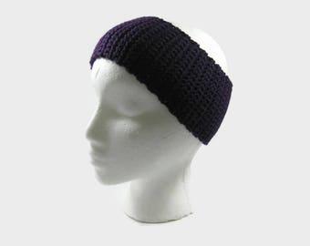 Dark Purple Crochet Cotton Ear Warmer One Size Fits Most